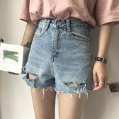 韓國破洞毛邊高腰顯瘦女學生韓版牛仔短褲 JD150 【男人與流行】
