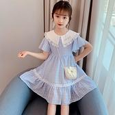 女童洋裝 女童連身裙2021年夏裝薄款兒童洋氣新款時尚翻領裙子小女孩公主裙【快速出貨】