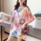 蕾絲上衣 短袖t恤女夏正韓寬鬆顯瘦中長款大版蕾絲鏤空上衣服潮-Ballet朵朵