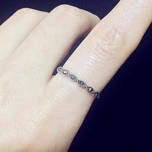 戒指 2件套組 復古歐美鑲鑽藍水晶個性食指戒指【1DDR0113】