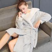 浴袍 大碼浴袍加厚珊瑚絨法蘭絨睡袍中長款女寬鬆羊羔絨帶帽子浴衣 茱莉亞嚴選