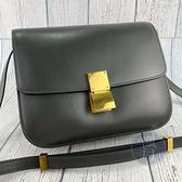 BRAND楓月 CELINE 灰色 皮革 金釦 CLASSIC BOX MEDIUM 側背包 斜背包 中款