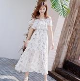 白色洋裝 2020年新款法式小香風矮個子一字露肩吊帶碎花l雪紡洋裝女夏天