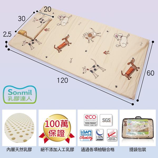 sonmil乳膠床墊 幼兒園午睡墊幼稚園兒童床墊 60x120cm 防蟎防水透氣型(含枕頭)
