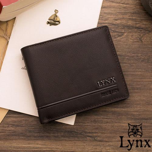 Lynx - 山貓簡約品味真皮款8卡1照短夾-復古咖