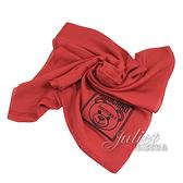 茱麗葉精品【全新現貨】 MOSCHINO 50134 M5344 電繡小熊LOGO莫代爾薄圍巾.紅