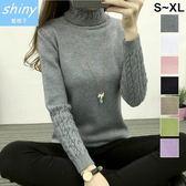 【V1980】shiny藍格子-玩色時尚.高領修身顯瘦麻花長袖毛衣上衣