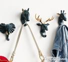 可愛動物頭北歐粘貼鑰匙掛鉤免打孔免釘掛衣鉤創意墻面裝飾衣帽鉤 3C優購
