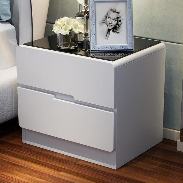 玻璃面烤漆床頭櫃 簡約現代儲物櫃 臥室床邊櫃白色收納 整裝WY