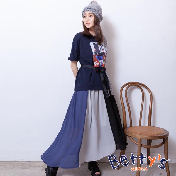 betty's貝蒂思 氣質拼接雪紡長裙(深藍)