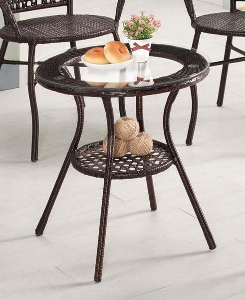 【森可家居】蓓爾休閒圓桌(不含椅) 7CM508-1 商業用桌 戶外桌 洽談桌 編藤