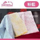 RAINBOW 扶桑花紗布提花毛巾-粉藍...