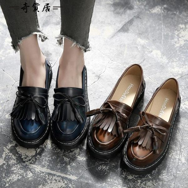 流蘇小皮鞋女2018秋季平底英倫學院風單鞋女韓版百搭牛津樂福鞋潮