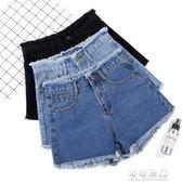 牛仔短褲女夏韓版寬鬆寬管百搭顯瘦高腰毛邊學生a字熱褲 可可鞋櫃