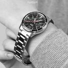 CASIO手錶 魅力黑三眼鋼錶NECE12