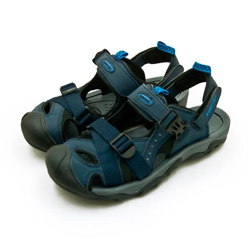 LIKA夢 LOTTO 專業護趾戶外運動涼鞋 水陸悍將系列 藍黑灰 0186 男