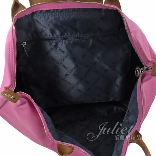 茱麗葉精品【全新現貨】Longchamp Le Pliage Cuir 大款 折疊小羊皮短把兩用包.粉 #1630