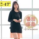 氣質洋裝--優雅針織拼接雪紡百褶裙蝴蝶結...