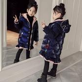 限定款厚外套 女童棉衣快速出貨免運冬季正韓外套羽絨棉棉襖中長版兒童加厚亮絲棉服
