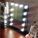 化妝鏡帶燈方形臺式LED化妝鏡直播美顏補光鏡梳妝鏡子(3041(12個LED燈泡)無時鐘)