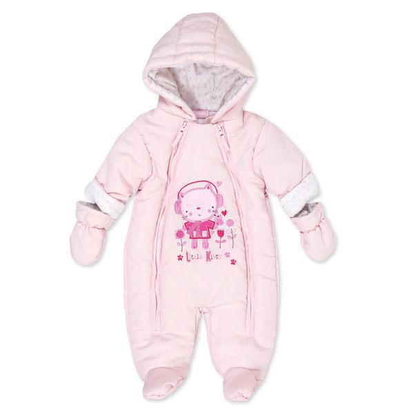 連身衣/厚鋪棉 Luvena Fortuna 鋪棉連帽長袖包腳連身衣 - 粉紅小貓 J10160