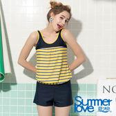 【Summer Love 夏之戀】條紋加大碼長版三件式泳裝(S19713)
