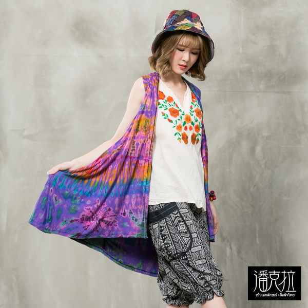 彈力綁染長背心罩衫(紫色)-F【潘克拉】
