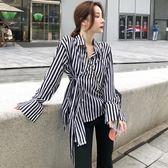 襯衫女秋裝新款時尚長袖休閒上衣正韓寬鬆復古條紋襯衣 褲子