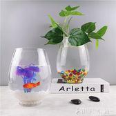 圓形創意生態迷你造景小型魚缸桌面金魚缸玻璃烏龜缸水培花瓶YYP 伊鞋本鋪