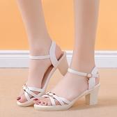 魚口鞋 夏季新款女涼鞋一字扣室外高跟鞋百搭夏天魚口羅馬粗跟女鞋潮-Ballet朵朵