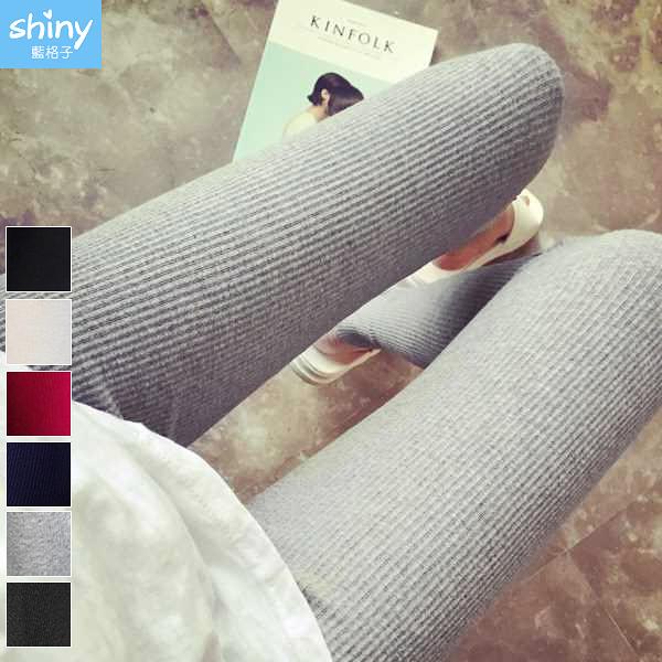 【V9242】shiny藍格子-完美顯瘦.春秋螺紋豎條九分內搭長褲
