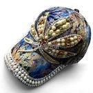 帶鑽帽子女春鑲鑽遮陽棒球帽韓版蕾絲手工鴨舌帽 快速出貨