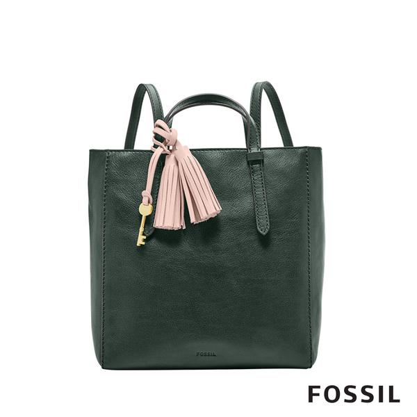 FOSSIL CAMILLA 真皮三用小後背包-雲杉綠色
