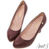 Ann'S優雅曲線-前防水台金色小愛心跟鞋 酒紅