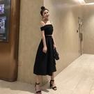 2018夏季新款韓版氣質一字肩吊帶露腰上衣高腰大擺半身裙傘裙套裝