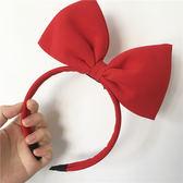 蝴蝶結髮飾賣萌紅色發箍女孩甜美素色蝴蝶結發卡自拍節目表演派對造型頭飾 嬡孕哺
