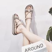 平底涼鞋 韓版2019夏季新款厚底一鞋兩穿羅馬涼鞋女仙女風平底學生潮