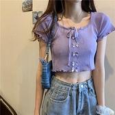 紫色短袖T恤女2021年夏季新款修身顯瘦緊身設計感小眾針織衫上衣 【端午節特惠】