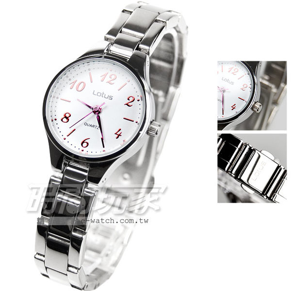 Lotus 時尚錶 簡單時尚小圓 女錶 白x紅 05-T1102-32L白紅 時間玩家