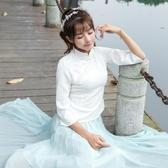 旗袍上衣 中式改良復古民國風盤扣唐裝茶服工作服
