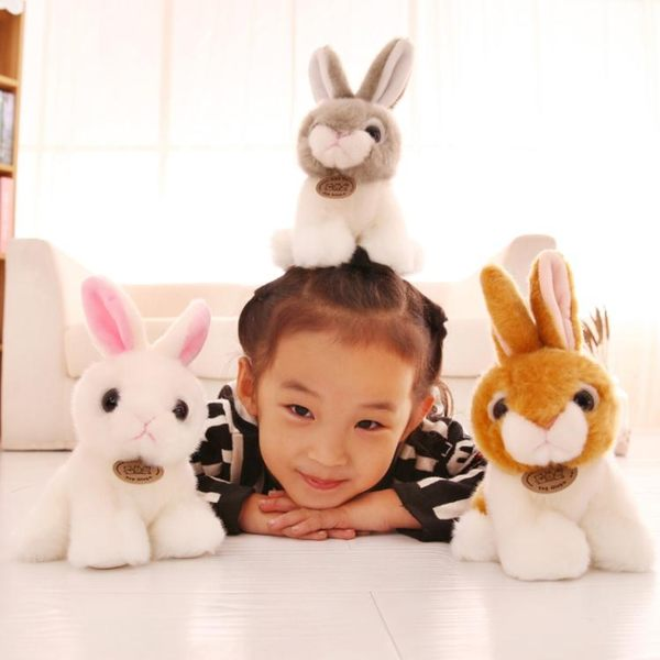 交換禮物-毛絨公仔-毛絨玩具仿真兔子布娃娃小白兔公仔可愛兔兔兒童女孩生日禮物T1