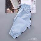 女童褲子天絲牛仔褲2021新款兒童夏裝運動褲中大童夏季薄款防蚊褲 一米陽光