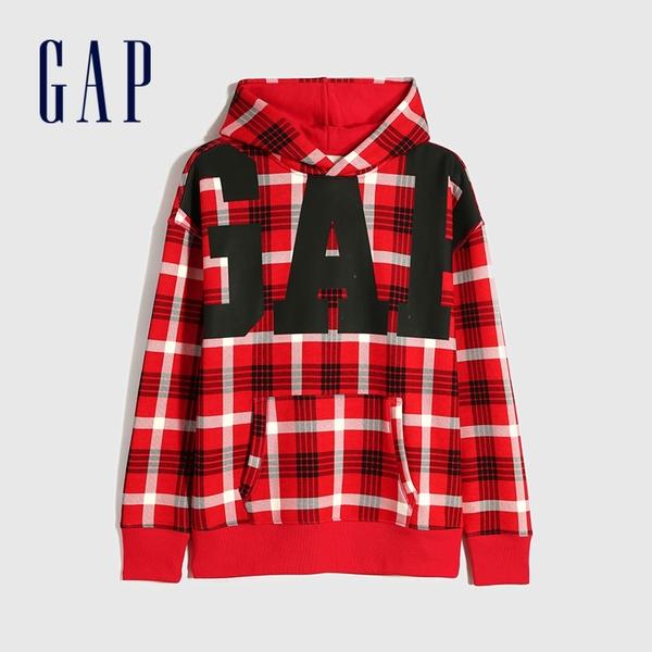 Gap男裝 Logo撞色格紋連帽休閒上衣 656135-紅色格紋
