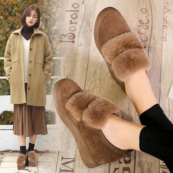 毛毛鞋女2020秋冬季新款棉鞋內增高外穿加絨厚底一腳蹬高跟豆豆鞋 酷男精品館