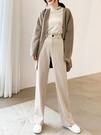 西裝褲 毛呢闊腿褲女 西裝直筒 秋冬季垂感高腰顯瘦百搭加厚寬松拖地長褲
