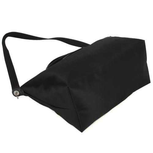 LONGCHAMP短提把兩用中型尼龍水餃包(黑色-含帕巾)480166