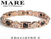 【MARE-316L白鋼】系列:綺麗 (玫金爪鑲黑鋯) 窄 款