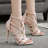 高跟涼鞋 高跟鞋 夏季新款女鞋歐美時尚露趾細高跟羅馬涼鞋韓版女鞋子【多多鞋包店】ds4091