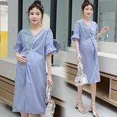 漂亮小媽咪 【D6013】 韓系洋裝 條紋 短袖 扭結 V領 開叉 喇叭袖 孕婦裝 OL 洋裝 []