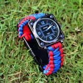 雙12潛水錶 新款戶外登山潛水手錶男士個性多功能熱賣運動指南針打火石求生手 卡菲婭